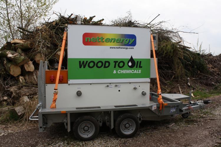 Nettenergy: Mobile Pyrolysis installation that converts biomass into electricity, biochar, bio-oil and wood vinegar